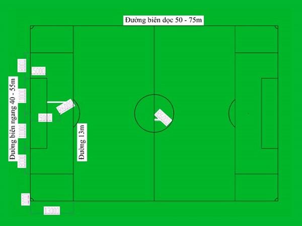 Kích thước sân bóng đá 7 người là bao nhiêu?